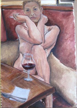 Helen with wine and pearls on paper