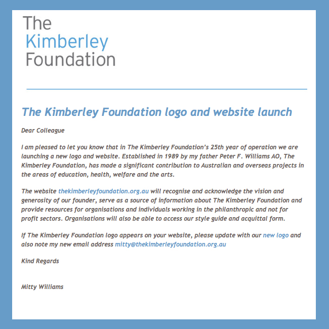 The Kimberley Foundation Newsletter