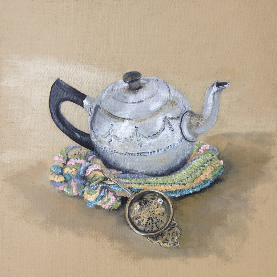 Teapot,-cosy-&-strainer by Soula Mantalvanos