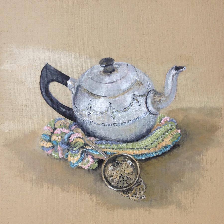 Teapot,-cosy-&-strainer by Soula Mantalvanos