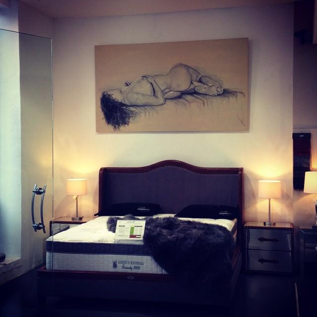Nude on canvas hanging at the Sleep Doctor Hawthorn, Soula Mantalvanos