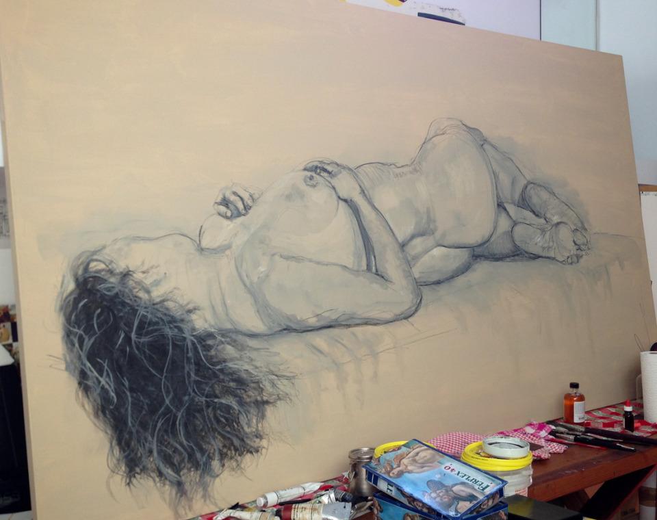 Nude on canvas, Soula Mantalvanos