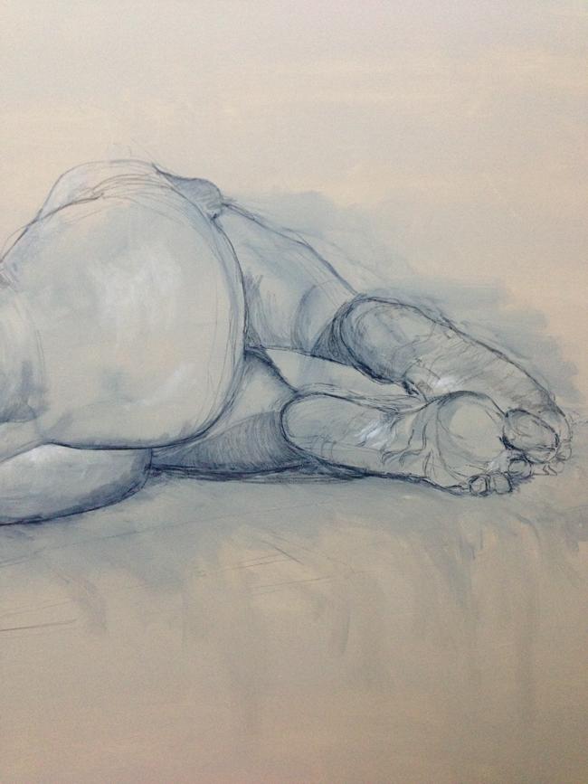 Nude (detail) on canvas, Soula Mantalvanos