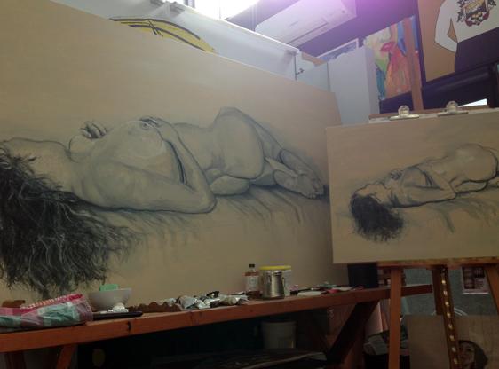 Nude on canvas (and study), Soula Mantalvanos