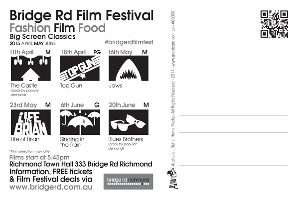 Bridge Road Film Festival 2015 postcard back
